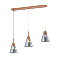 BRADLEY PENDANT 3xE27 GREY/WOOD